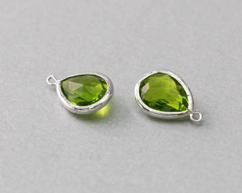 Polished Original Rhodium Plated Dark Apple Green Teardrop Glass Pendant 10 Pieces  G2016S-DA010 Brass Framed