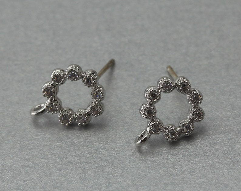 Polished Original Rhodium Plated 10 Pieces  C1211S-010 Round Post Earring