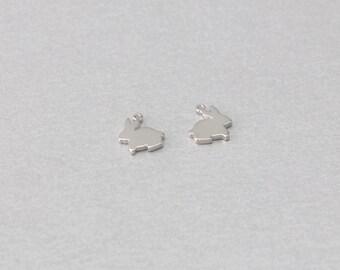 Rabbit Brass Pendant . Polished Original Rhodium Plated . Brass Framed . 10 Pieces / C1119S-010