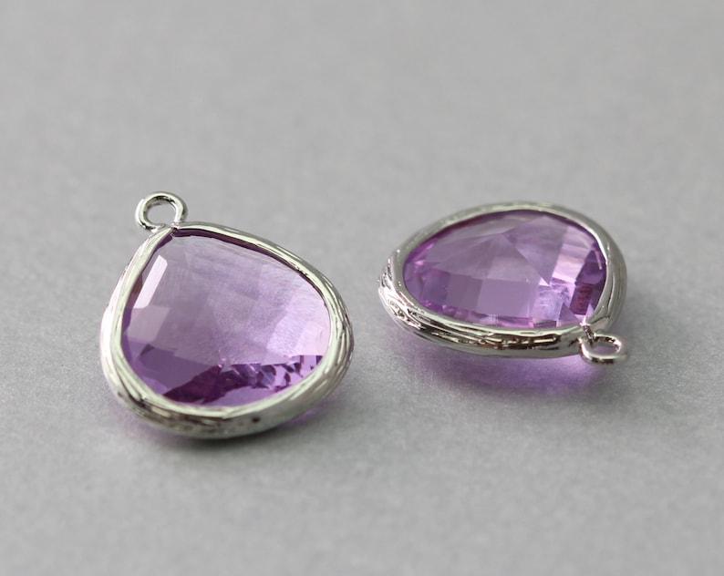 Polished Original Rhodium Plated Lavender Teardrop Glass Pendant Brass Framed 10 Pieces  G2002S-LV010