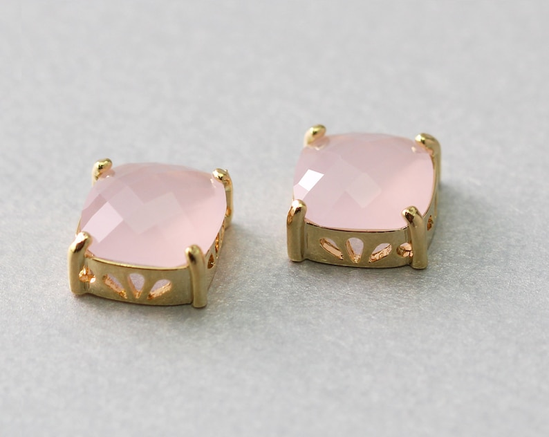 Brass Framed Ice Pink Square Glass Pendant Polished Gold Plated 10 Pieces  G1029G-IP010