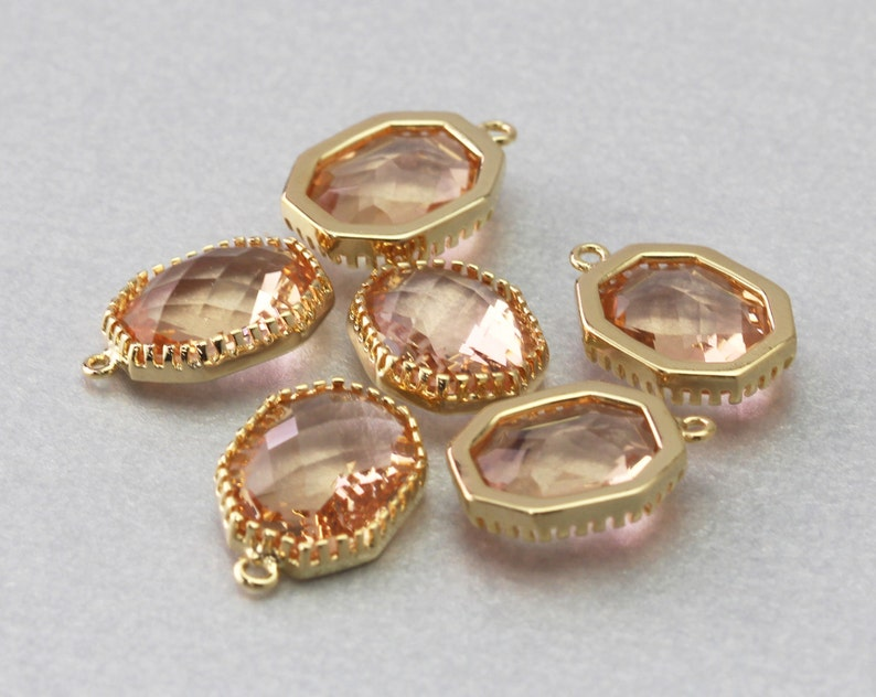 Polished Gold Plated Peach Hexagon Glass Pendant Brass Framed 10 Pieces  G1006G-PC010