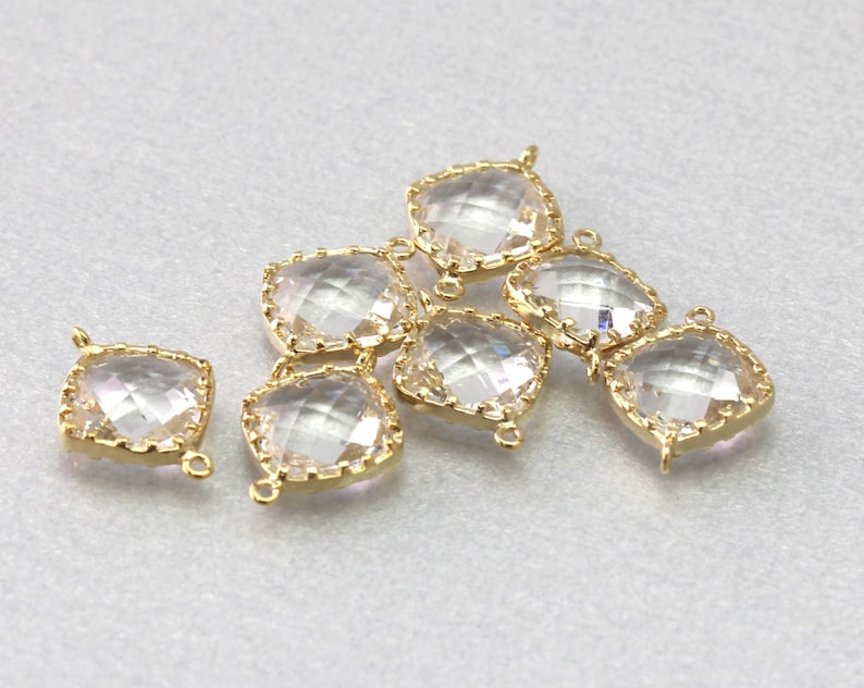 Brass Framed Crystal Square Glass Connector Polished Gold Plated 10 Pieces  G1003G-CR010