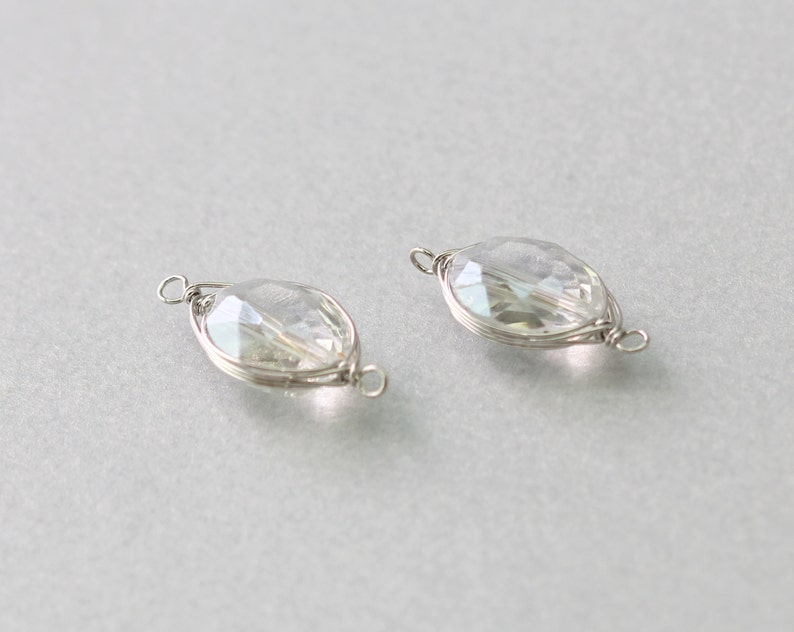 Polished Original Rhodium Plated 10 Pieces  G3001S-CR010 Clear Crystal Oval Gemstone Connector Brass Framed