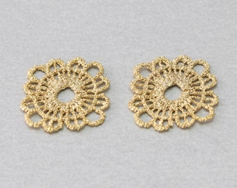 Flower Pewter Connector . Matte Gold Plated . Pewter Framed . 10 Pieces / C1106G-010