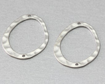 Oval Pewter Connector . Matte Original Rhodium Plated . 10 Pieces / C2100S-010