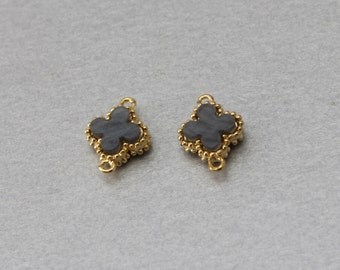 Charcoal Acrylic Clover Connector . Polished Gold Plated . 10 Pieces / C8506G-CC010