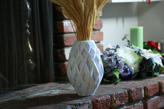 3d Printed White Vases Living Room Decor Modern Tall Vase Modern Geometric Vase