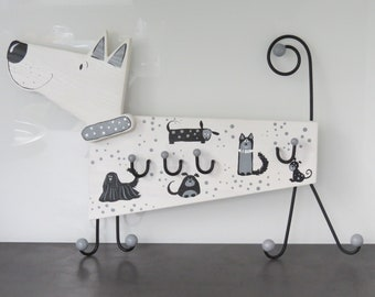 Children's wardrobe Children's Wood Coat Rack 3D Coat Hooks Coat Hooks Wall Hook Wood Handpainted dog