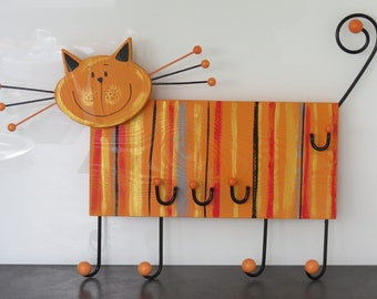 Children's wardrobe Children's Wood Coat Rack 3D Coat Hooks Coat Hooks Wall Hook Wood Handpainted Cat
