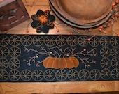 Wool Applique Penny Rug e-Pattern pdf BITTERSWEET RUNNER Digital Download Pumpkin Needle Felting Autumn Thanksgiving Fall Harvest