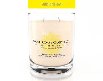 Lemon Jasmine Violet Scented Candle Soy Wax Glass Jar