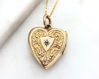 Victorian Rolled Gold Heart Locket Pendant Necklace