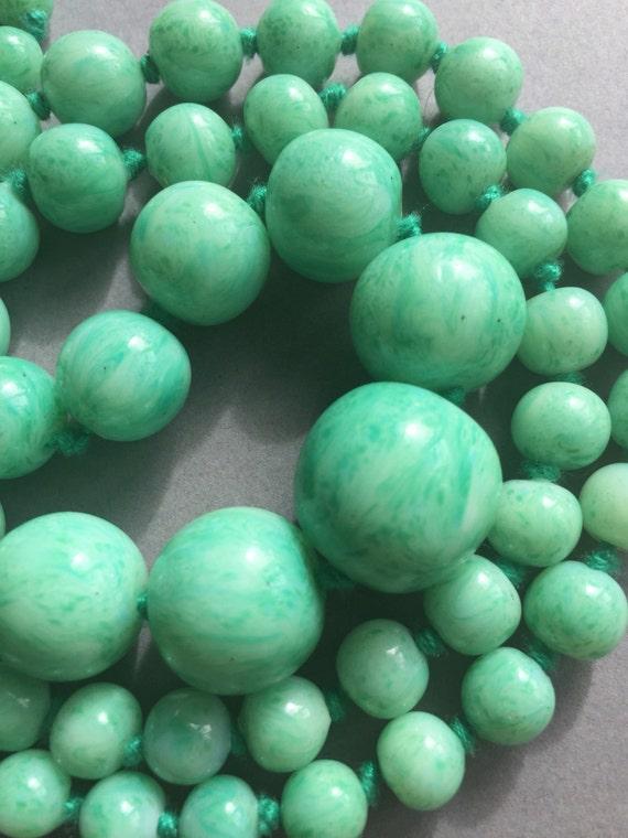 1930's Long Green Glass Peking Beads