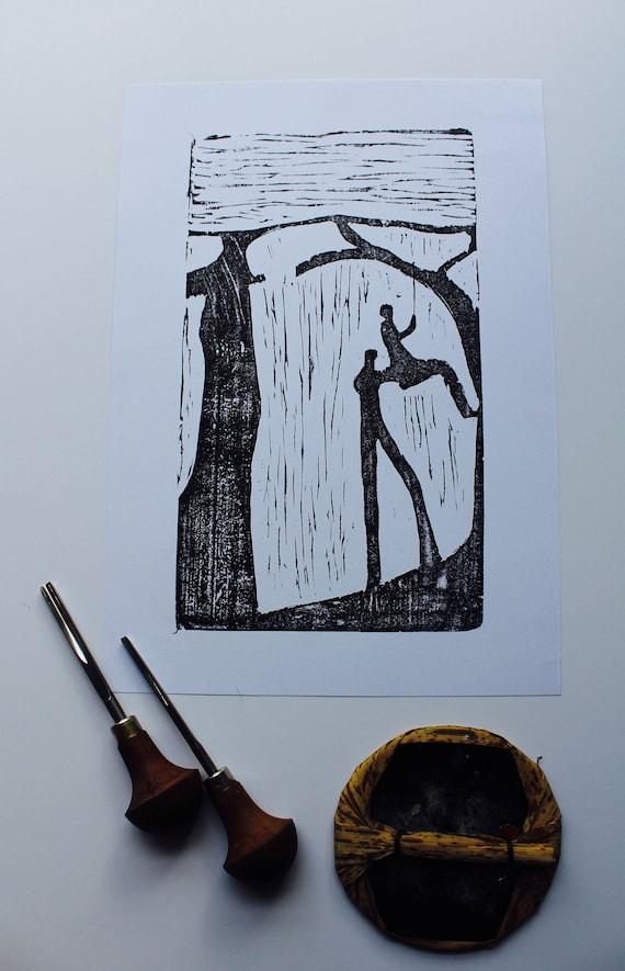 Woodblock Print, Tree Swing, Love, Nature, Prints, Original, Art,