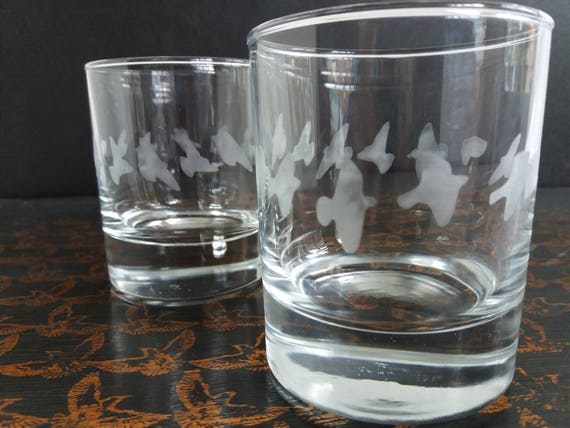 Drinking Glasses birds whisky brandy gin gift nature wedding etched