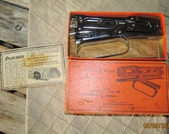 "Vintage Ace ""Clipper"" Stapling Pliers Stapler Ace Fastener Corp Model 702 in Original Cardboard Box Made in U.S.A. Hand Held Stapler"