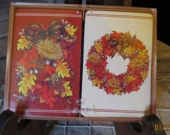 Vintage Hallmark Bridge Playing Cards 2 Decks Plastic Coated Autumn Elegance Original Case