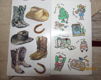 d7401aa3114 8 Sheets Vintage Frances Meyer Stickers-Cowboy Boots   Hats - Christmas  Activities -Extremely Rare Hard To Find Stickers