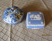 Vintage Trinket Box - Wedgwood England Square Chariots Cherubs or Blue White Heavy Porcelain Floral Shaped Asian Inspired