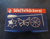 Vintage German Waffelbackerei Cast Iron Rosette Waffle Maker with Instructions Mint In Box