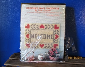 """Vintage New Old Stock Designer Wall Hangings By Nicole Creations Latch Hook Kit for Beginners """"Country Welcome"""" 18"""" x 24"""""""