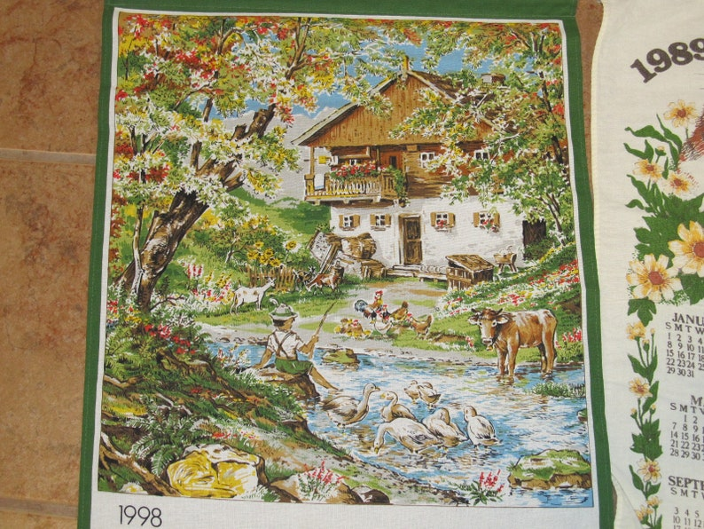 Cotton 1998 Walter Farmhouse-1989 B/&D Kittens-1989 Birds-1993 Switzerland 4 Vintage Linen Fabric Calendars Tea Towels