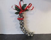 """Vintage Christmas Silver Jingle Bells Holly Red Ribbon Bell Cluster-Door Wall Hanger 14"""" Long"""