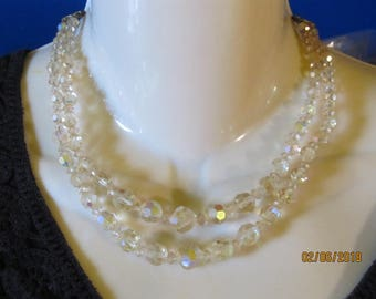 """Vintage Crystal Clear Aurora Borealis Crystal or Glass Double Strand Beaded Necklace 12"""" Extendable to 15"""" Wedding Attire"""