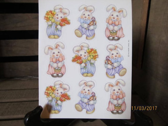 Vintage Gibson Sticker  Pack 1980/'s 1990/'s Easter Bunnies 3 Sheets per Package