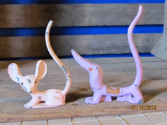 2 Vintage Revere MFG USA Miniature Metal Ring Holders - Purple Wiener  Weiner Dog Dachshund & Pink Mouse
