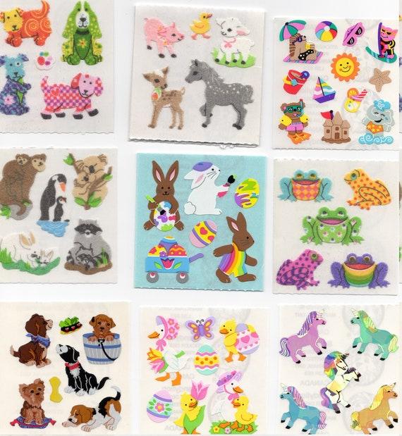 1 Square VTG PRISMATIC Stickers/' MINI Sandylion ANIMAL FRIENDS PLAYING MUSIC