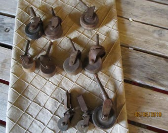 11 Assorted Antique Caster Wheels Furniture Replacement Refurbishment Lot