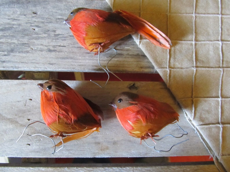 Birds Robins 8 Vintage Christmas Tree Ornaments Feathers Wire Tie Wrap Feet Red Robins Pink Robins Assortment Lot
