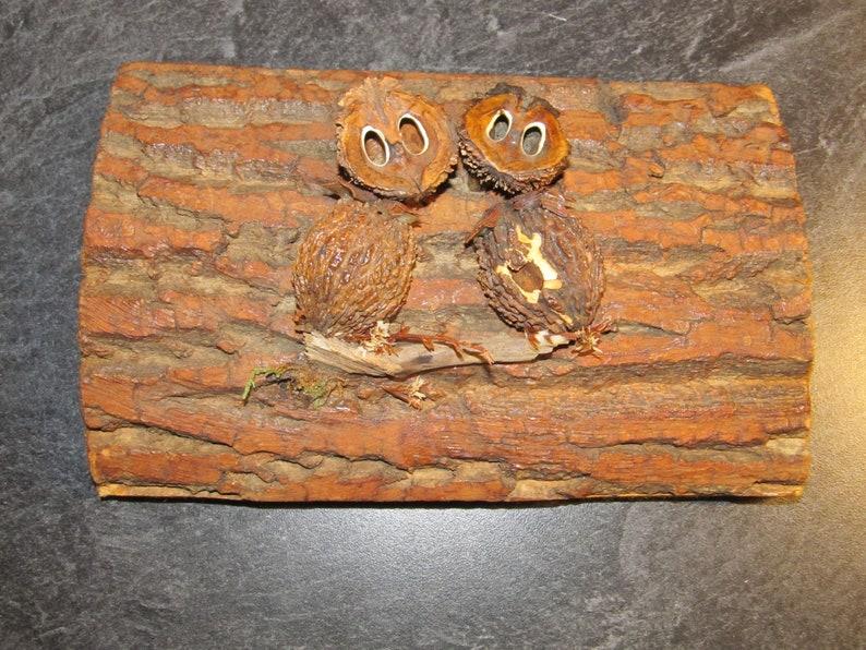 Vintage Hand Made Folk Art Walnut Nut Art on Bark Wood Slab Owls Rustic Woodsy Natural Wall Hanging