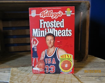 Vintage 1992 Olympic Limited Edition Kellogg's Frosted Mini-Wheats Larry Bird #33 Unopened Full Box USA Dream Team