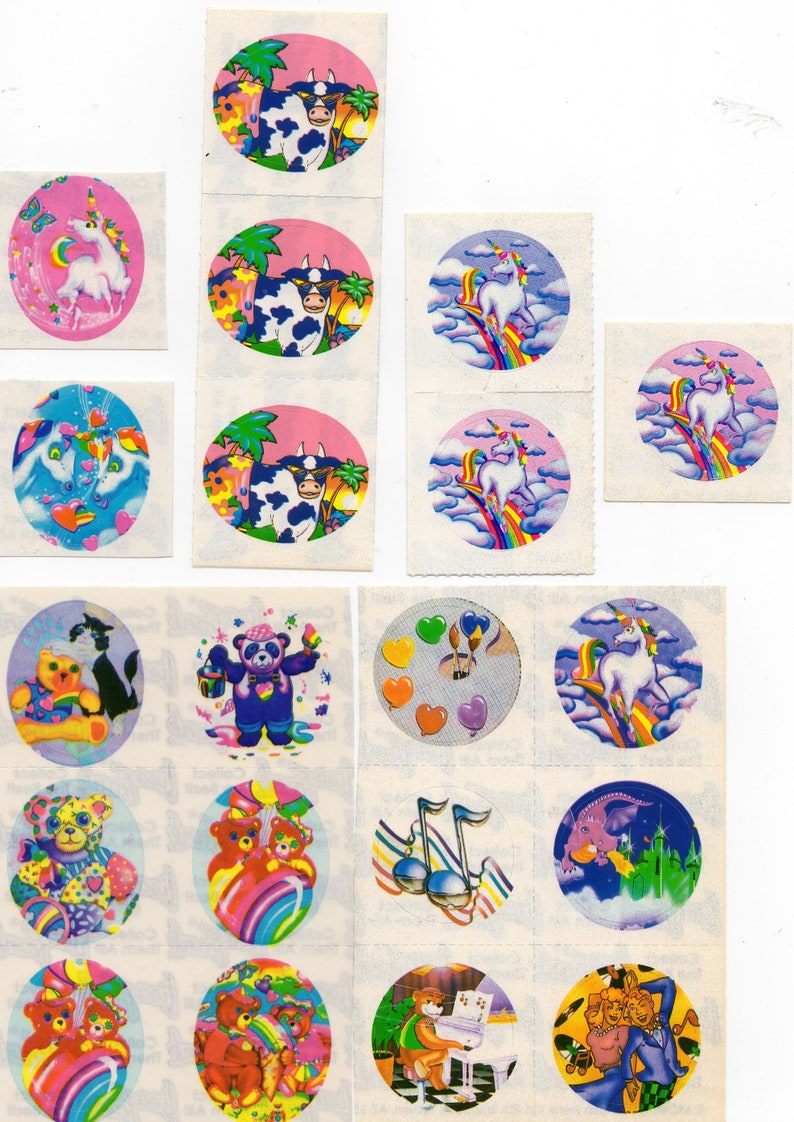 20 Mods Vintage Lisa Frank Extremely Rare Hard to Find Stickers 1x1 Round Unicorn-Cow Dragon-Teddy Bears-Music Notes /& More Assortment