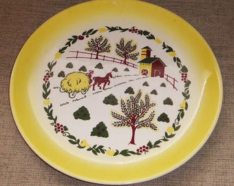 Vintage Grant Crest Country Charm Yellow Farm House Farmhouse Cottage Farm Animals Horse Haystack Scene Large Dinner Plate Platter Charger & Large dinner plate   Etsy