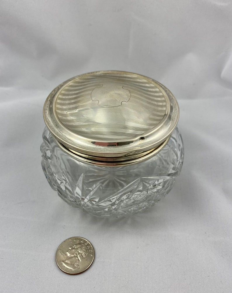 Sterling Lidded Glass Dresser Jar  Sterling Topped Glass Dresser Jar  Sterling Lidded Trinket Box   Sterling Topped Glass Trinket Box