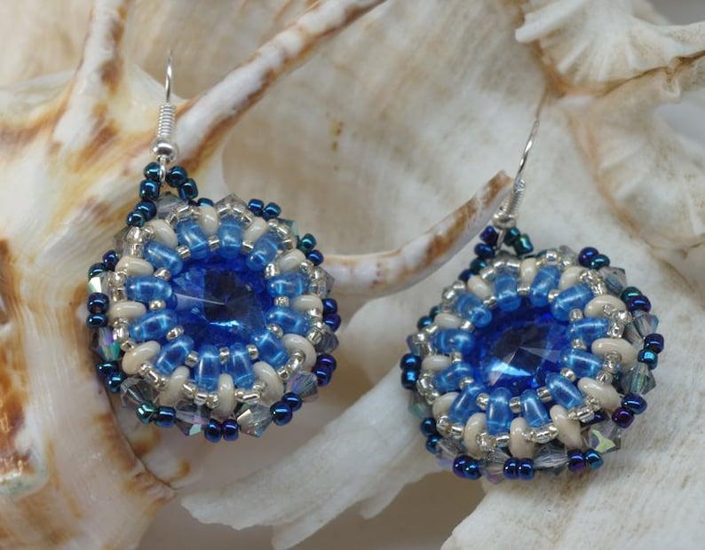 drop earrings hand made earrings Australian jewellery blue earrings crystal earrings jane bari design DANGLE EARRINGS