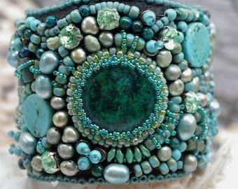 SEA SHORE CUFF, beaded cuff, bead embroidery jewelry, chrysocolla cuff, turquoise cuff, unique, gems,  original jewelry, jane bari design
