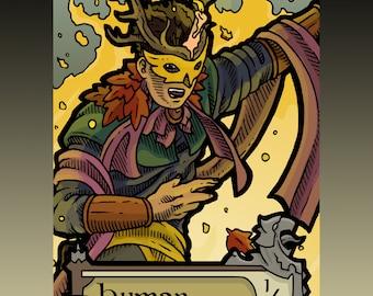 Human Token - Custom MTG Magic the Gathering Innistrad Fantasy Board Game Card Gaming Collectible DnD Commander Horror Gothic Midnight Dark