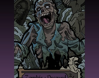 Zombie Token - Custom MTG Magic the Gathering Innistrad Fantasy Board Game Card Gaming Collectible DnD Commander Horror Gothic Midnight Dark