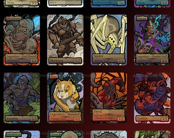 16 Custom Adventures in the Forgotten Realm Tokens - Magic The Gathering MTG Fantasy Board Game Card Gaming Trading Cards Set DnD EDH