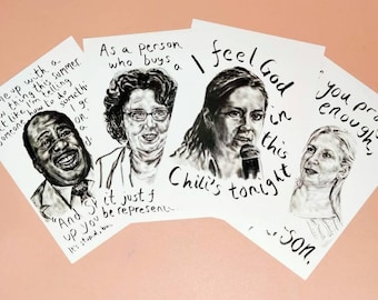 Set of The Office US Art Prints Employees of Dunder Mifflin - Quotes Angela Pam Stanley Phyllis Comedy TV Workplace Decor