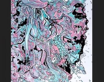 The Last Piscean - colourful natural art - multi-coloured nature artwork - expressive  painting pareidolia pisces detailed underwater aqua