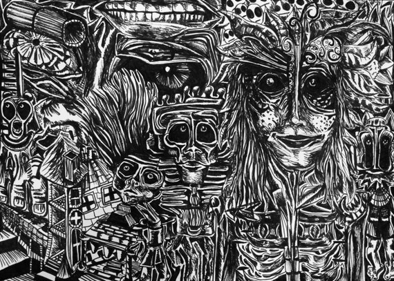 Detailed Trippy Black  White Drawing Psychedelic Dream World-9641