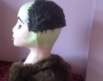 1940's Inspired  Brown feathered Half  Hat
