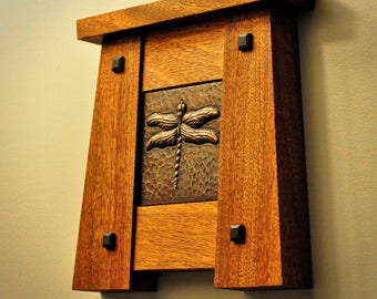 Craftsman Tile Frame with 4x4 Copper Dragonfly Tile Mission Style Bungalow Arts and Crafts