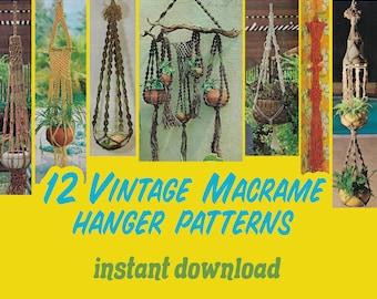 13 Vintage Macrame Hanger Patterns Instant Download PDF 23 pages Macram\u00e9 Hangers for Small Spaces
